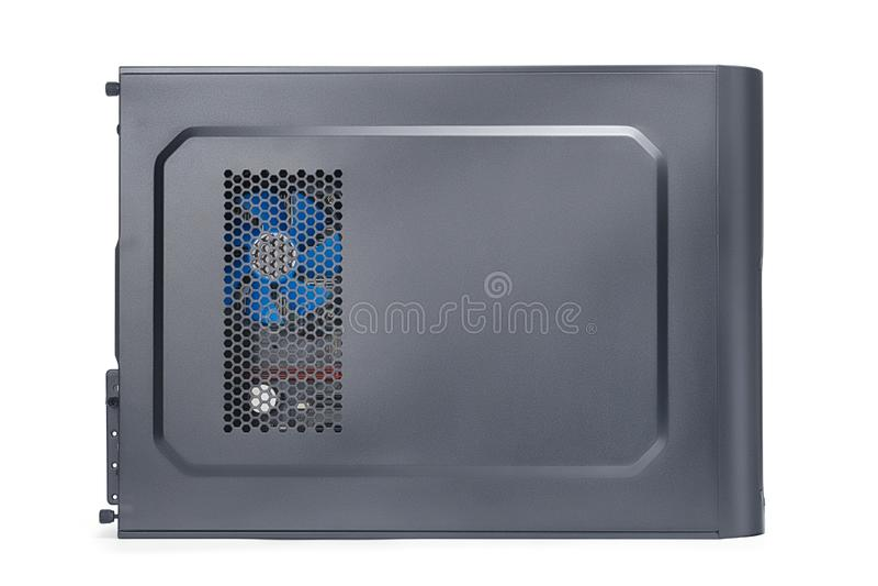 Vista lateral de la caja negra del equipo de escritorio aislada con la trayectoria de recortes imagen de archivo libre de regalías