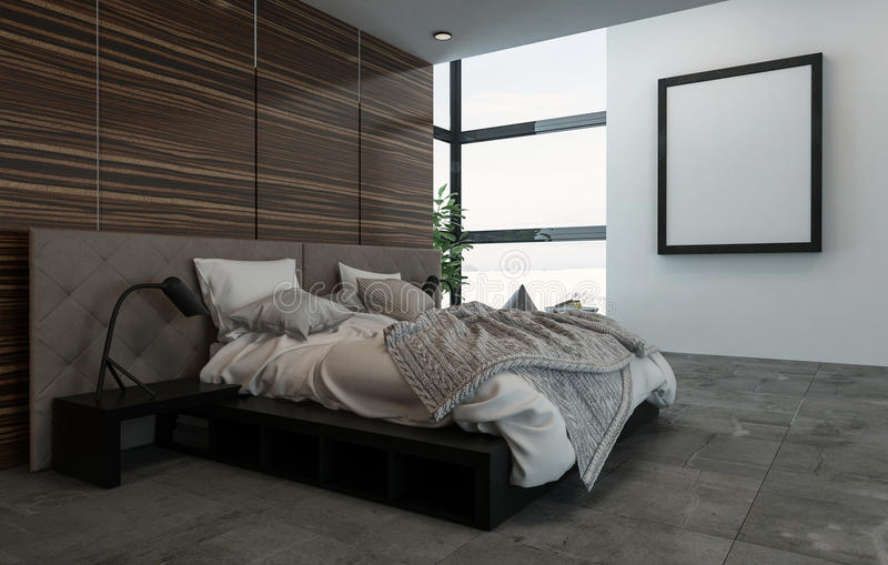 Vista lateral de la cama sucia en sitio con el marco ilustración del vector