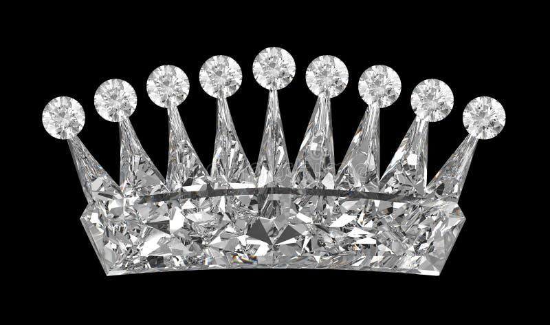 Vista lateral de la corona de la piedra preciosa sobre negro ilustración del vector