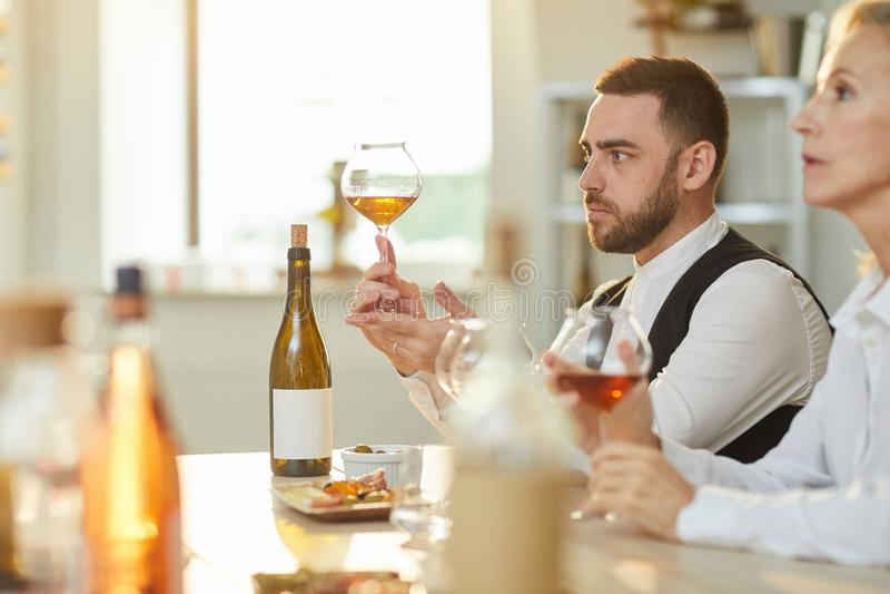 Vista lateral de la degustaci?n de vinos foto de archivo libre de regalías