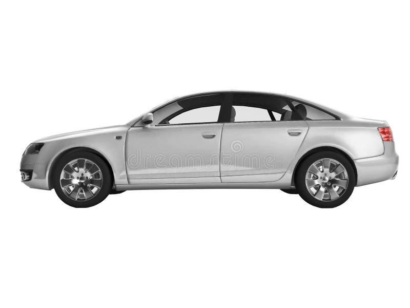 Vista lateral de la imagen 3D del automóvil de plata fotografía de archivo libre de regalías