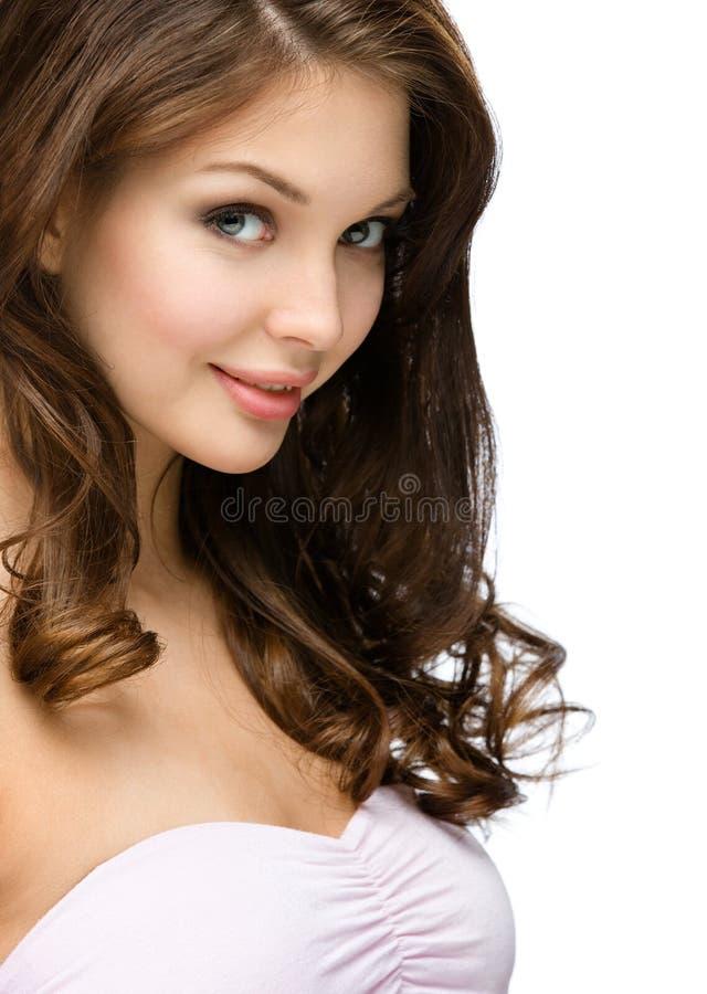 Vista lateral de la muchacha con los rizos del pelo fotos de archivo libres de regalías