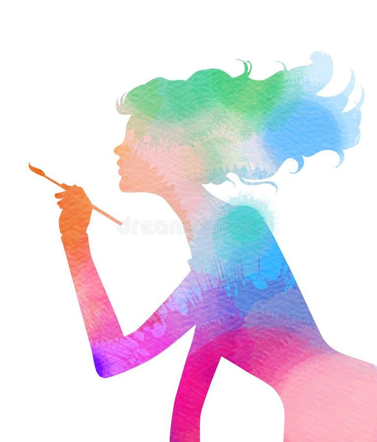 Vista lateral de la muchacha hermosa del artista que sostiene la brocha libre illustration
