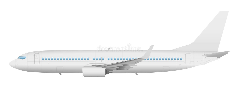 Vista lateral de la plantilla del aeroplano sobre un fondo blanco stock de ilustración