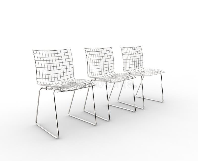 Vista lateral de las sillas modernas de cristal libre illustration