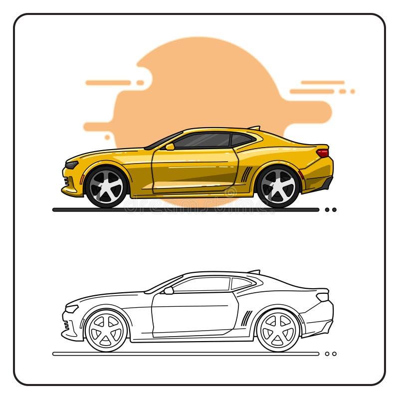Vista lateral de los coches estupendos amarillos libre illustration