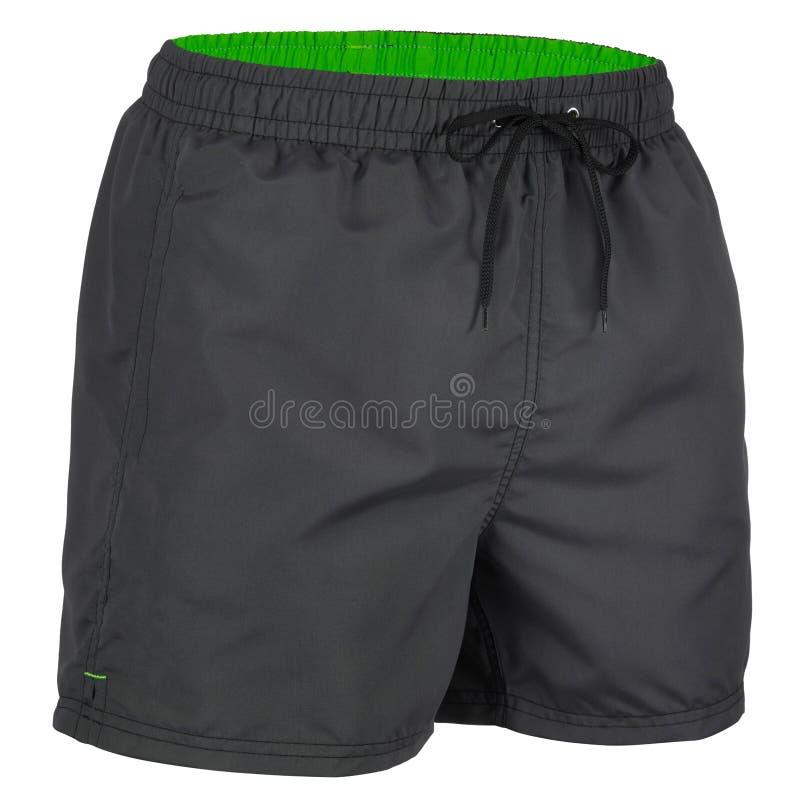 Vista lateral de los pantalones cortos de los hombres negros y verdes para nadar imagenes de archivo