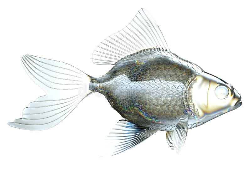 Vista lateral de los pescados de cristal aislados ilustración del vector