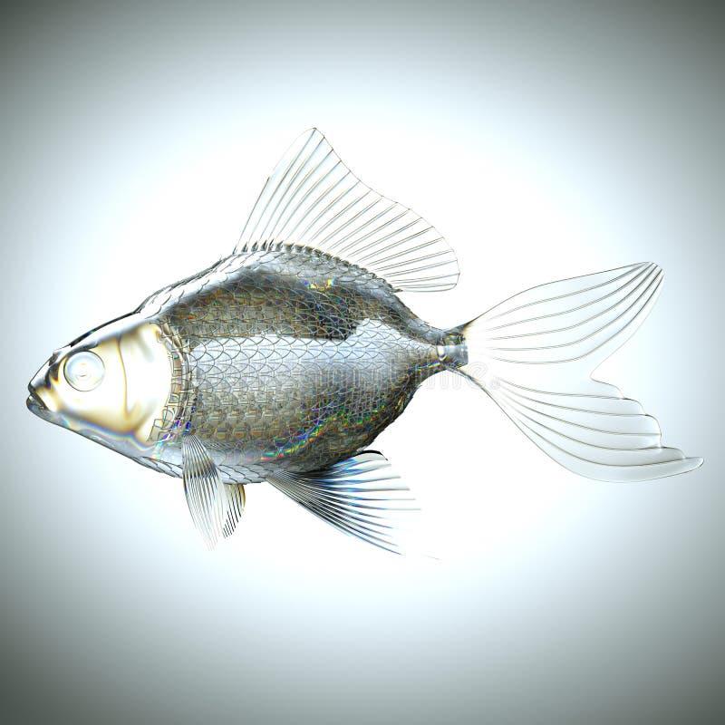 Vista lateral de los pescados hechos del vidrio ilustración del vector
