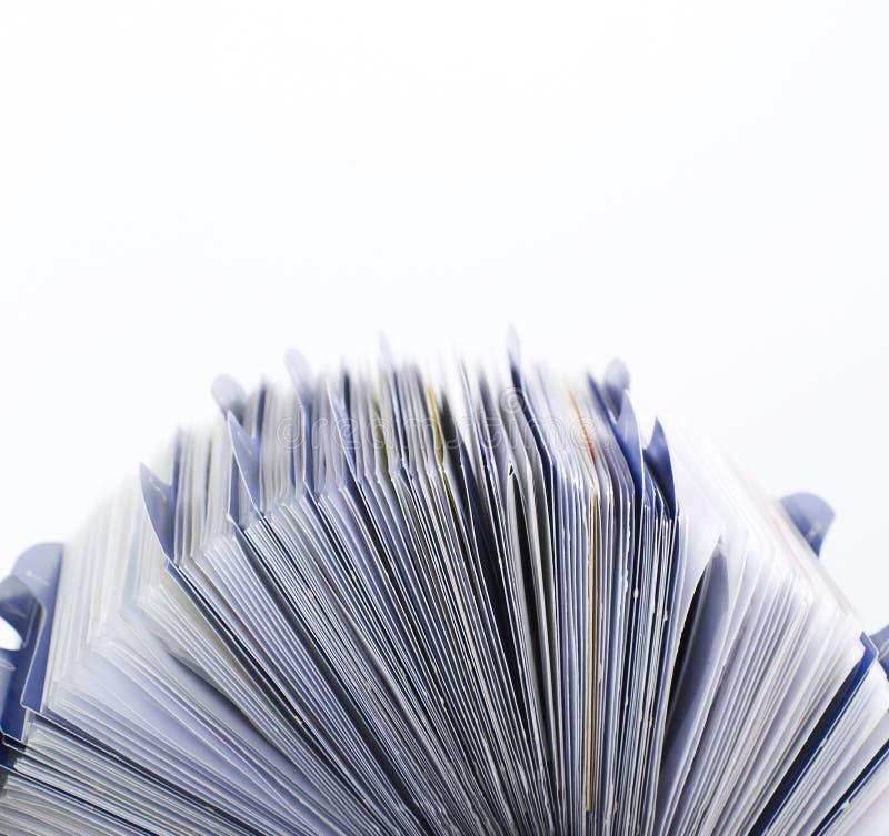 Vista lateral de Rolodex fotografía de archivo libre de regalías