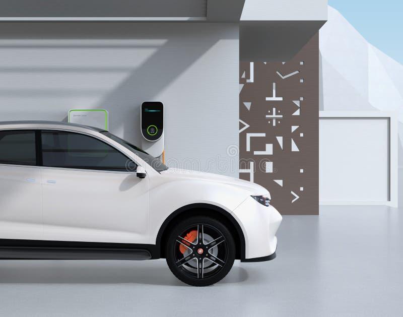 Vista lateral de SUV posto bonde branco que recarrega na garagem ilustração do vetor