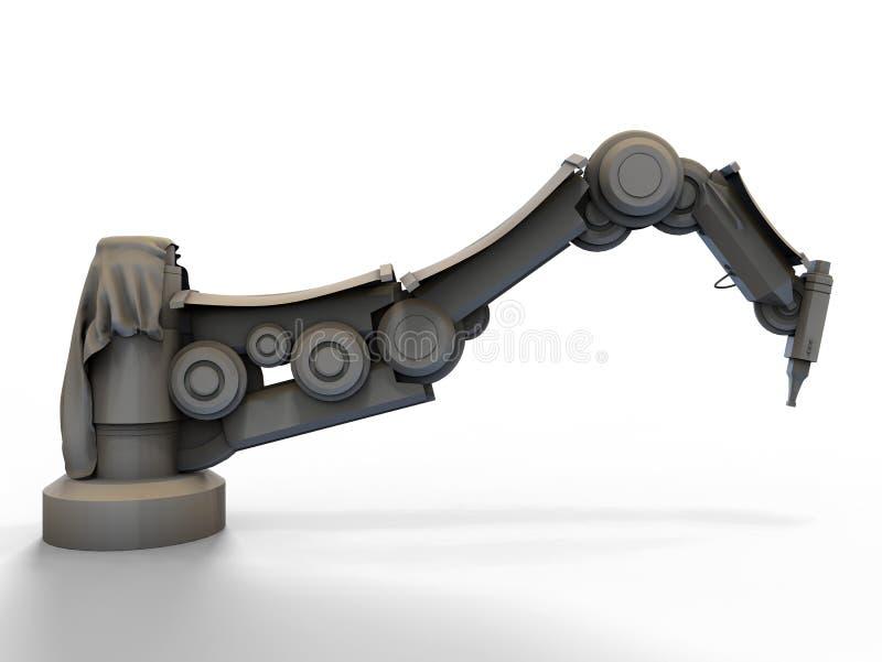 Vista lateral de um braço robótico industrial ilustração royalty free