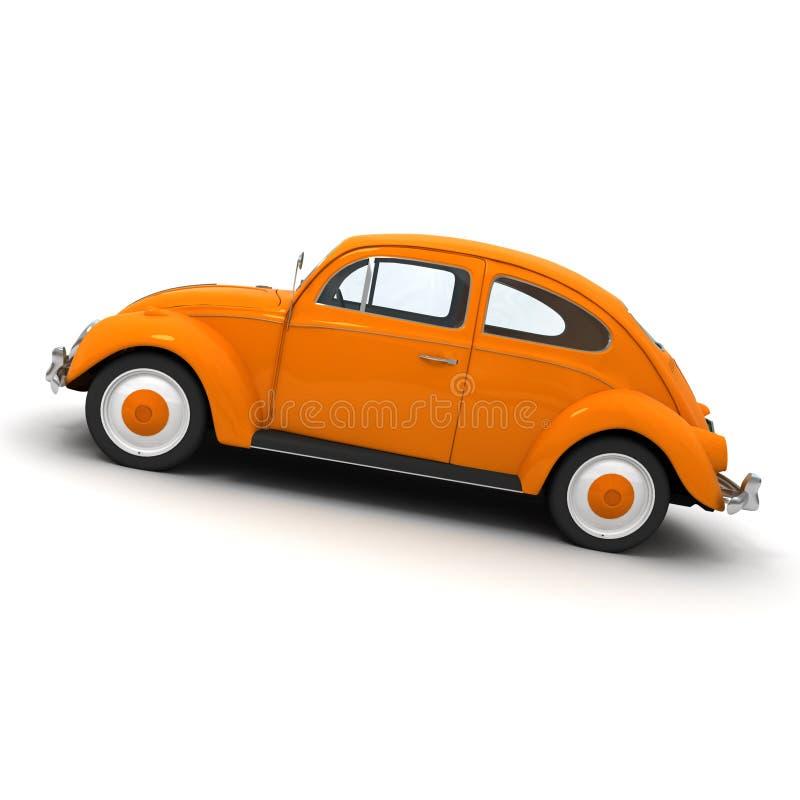 Vista lateral de um carro alaranjado europeu do vintage ilustração stock