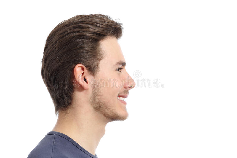 Vista lateral de um retrato considerável do facial do homem imagens de stock