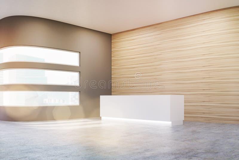 Vista lateral de um salão vazio do escritório com as paredes de madeira e cinzentas e o assoalho concreto ilustração stock