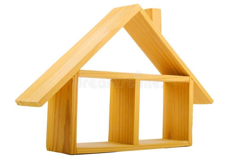 Casa de madeira isolada com um assoalho e um telhado imagens de stock