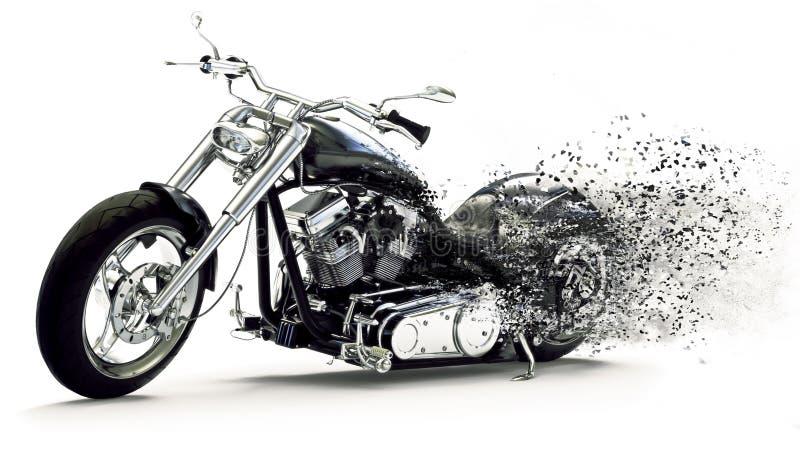 Vista lateral de uma motocicleta preta feita sob encomenda com efeitos da dispersão em um fundo branco ilustração do vetor