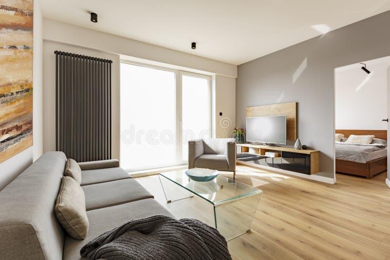 Vista lateral de un interior moderno de la sala de estar con un sofá, butaca imagen de archivo