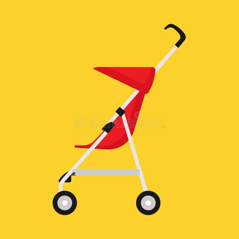 Vista lateral del carro del niño del cochecito de niño del icono rojo del vector Cochecito con errores de la niñez del bebé Mamá  ilustración del vector