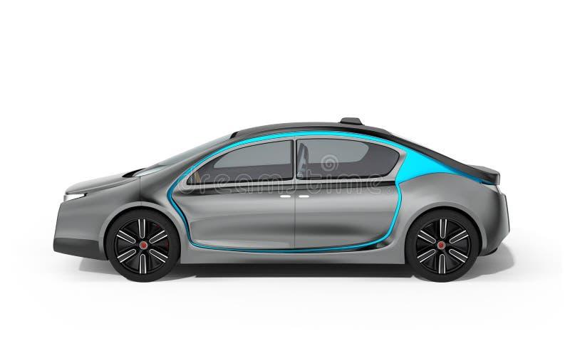 Vista lateral del coche eléctrico autónomo en el fondo blanco ilustración del vector