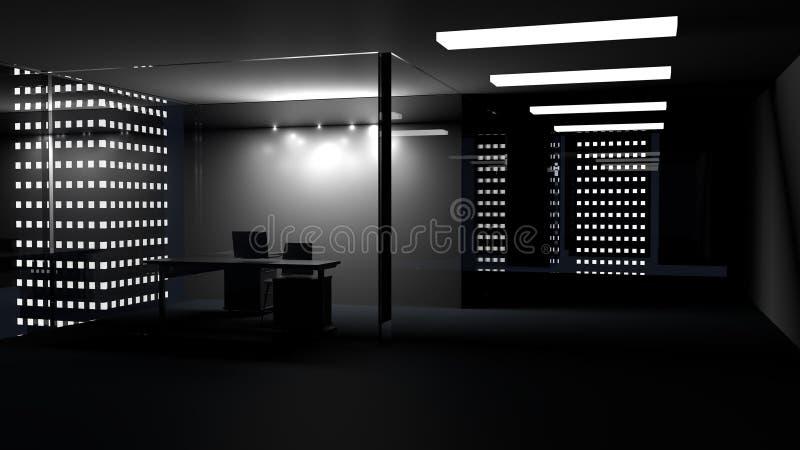 Vista lateral del interior de la oficina con whiteboard en blanco detrás del vidrio 3d rinden ilustración del vector