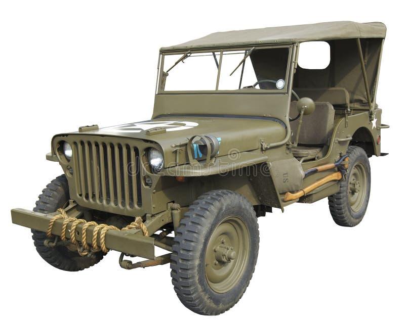 Vista lateral del jeep americano de WWII fotografía de archivo libre de regalías
