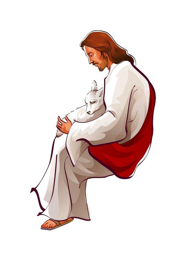 Vista lateral del Jesucristo que se sienta con las ovejas ilustración del vector