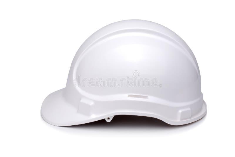 Vista lateral del sombrero duro blanco fotos de archivo