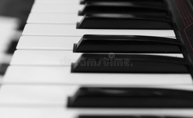 Vista lateral del tablero dominante del piano del sintetizador Teclado electrónico profesional de Midi con llaves blancos y negro fotos de archivo