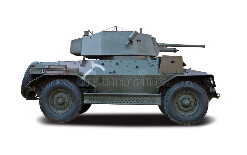 Vista lateral del tanque de Marmon M3 aislada en blanco imagenes de archivo