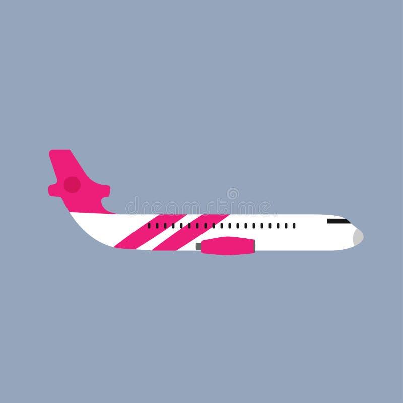 Vista lateral del vehículo del viaje del transporte del vuelo del aeroplano Ejemplo comercial del vector plano stock de ilustración