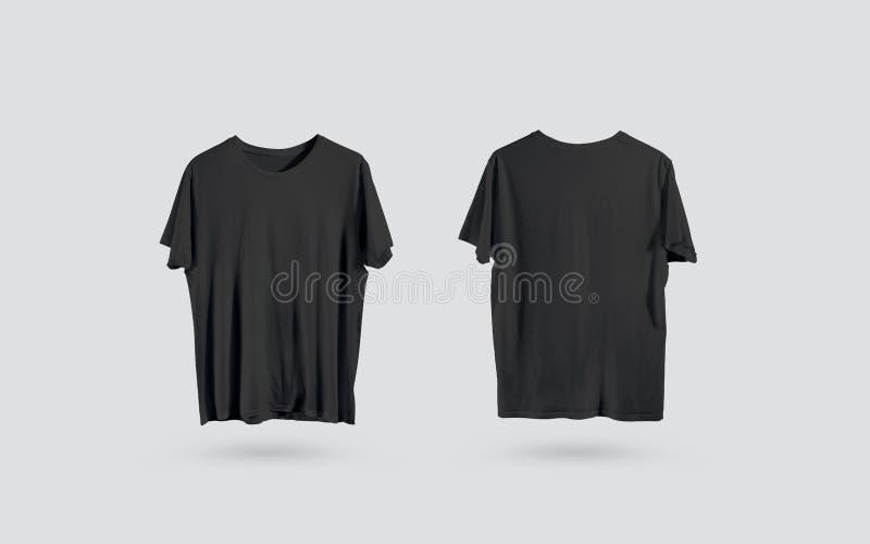Vista lateral delantera y trasera de la camiseta negra en blanco, maqueta del diseño stock de ilustración