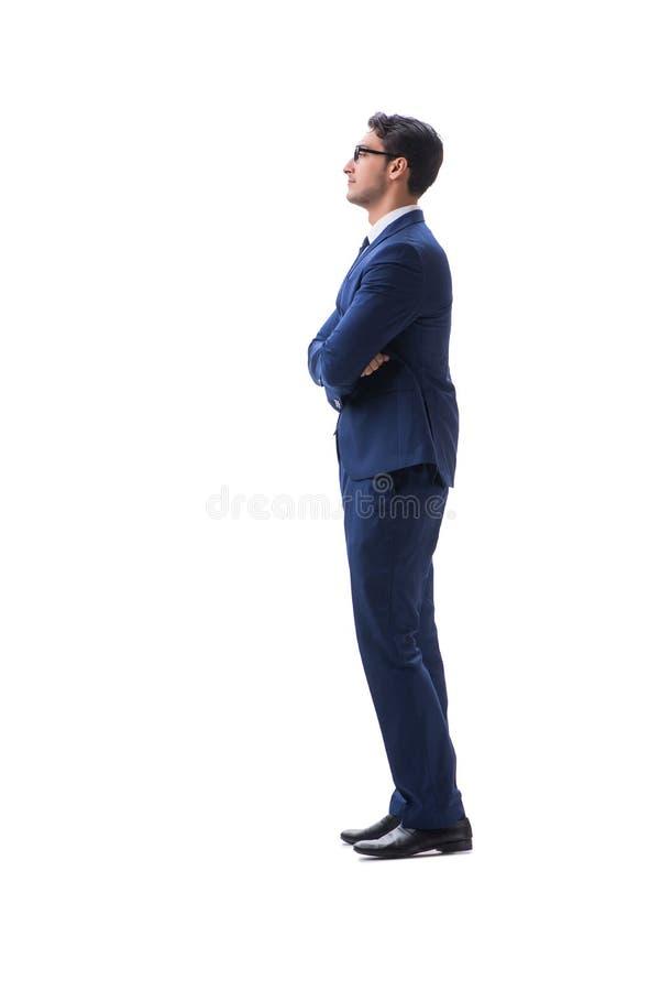 Vista lateral derecha que camina del hombre de negocios aislada en el backgro blanco imagen de archivo libre de regalías