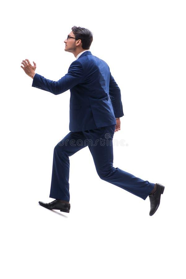 Vista lateral derecha que camina del hombre de negocios aislada en el backgro blanco fotos de archivo libres de regalías