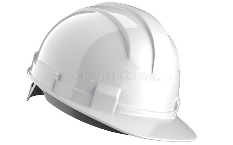 Vista lateral do capacete branco da construção isolado em um fundo branco rendição 3d do chapéu da engenharia imagens de stock