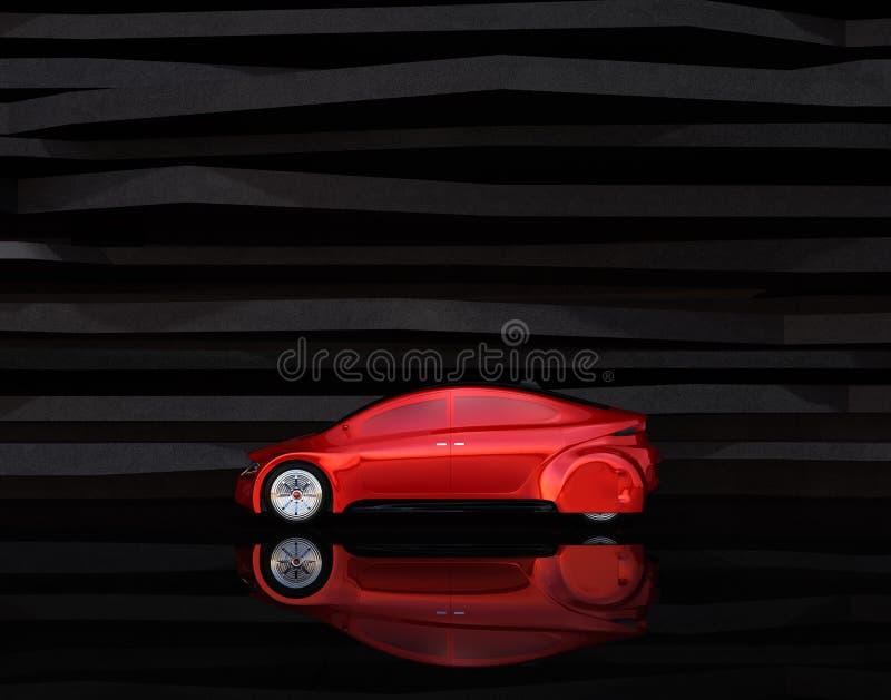 Vista lateral do carro autônomo vermelho ilustração stock