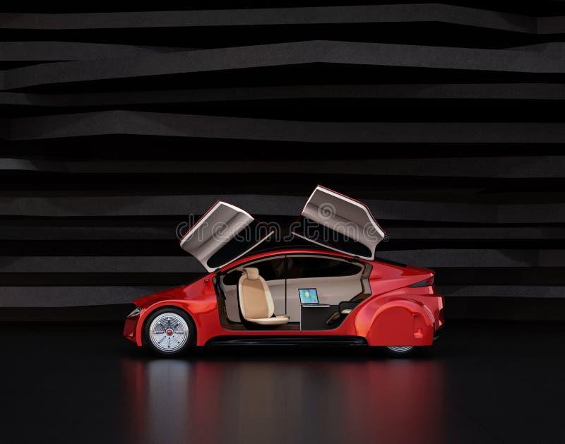 Vista lateral do carro decondução vermelho metálico ilustração stock