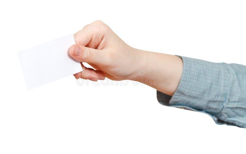 Vista lateral do cartão vazio à disposição isolada fotos de stock royalty free