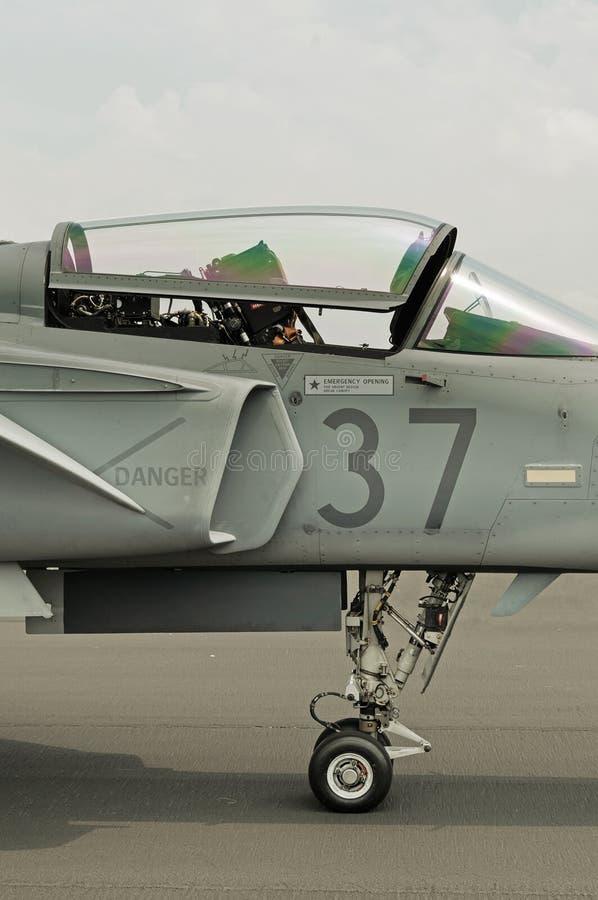 Vista lateral do dossel, da cabina do piloto e do trem de aterrissagem do avião militar do jato fotografia de stock royalty free