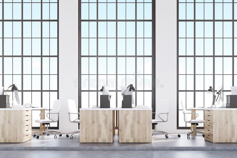 Vista lateral do escritório do sótão, mobília de madeira ilustração stock