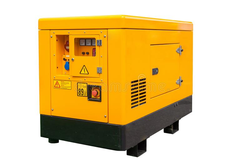 Vista lateral do gerador diesel móvel das correntes do desastre para a energia elétrica da emergência com o painel de console do  imagem de stock royalty free