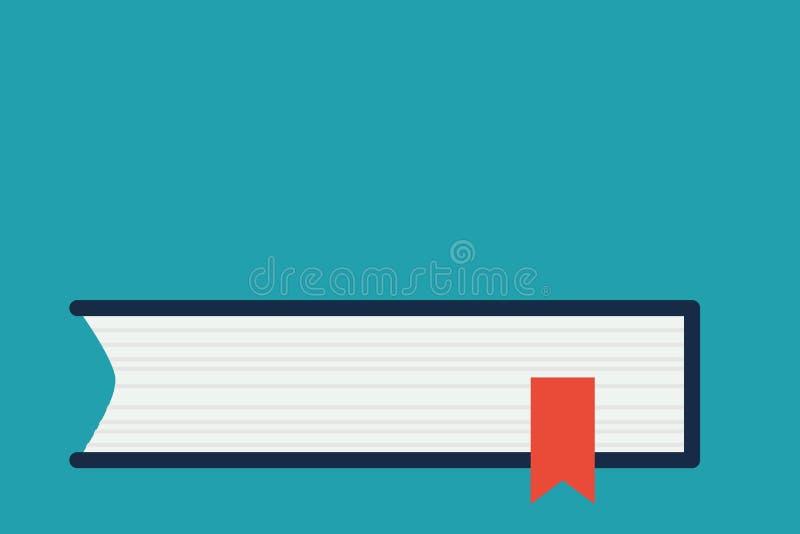 Vista lateral do livro fechado na tabela ou na mesa com a fita vermelha do marcador isolada contra o fundo azul Projeto liso ilustração stock