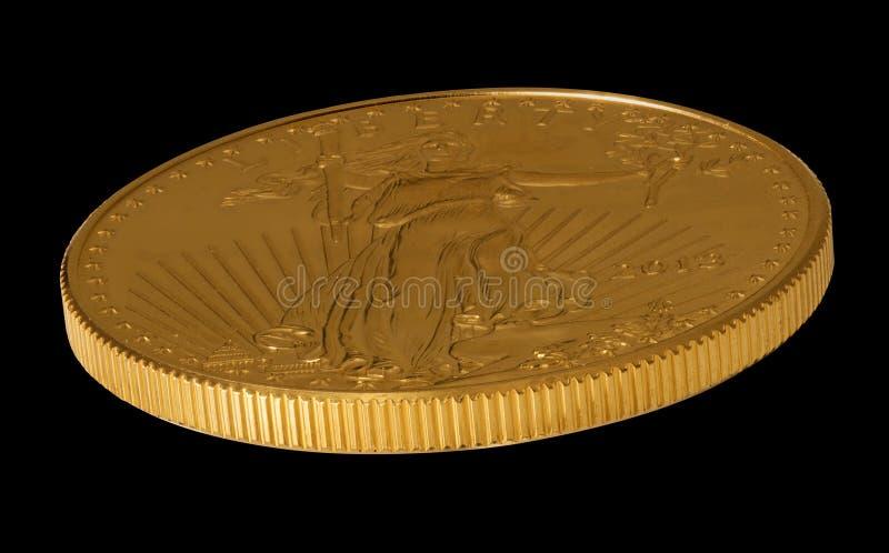 Vista lateral do ouro Eagle uma moeda da onça imagens de stock royalty free