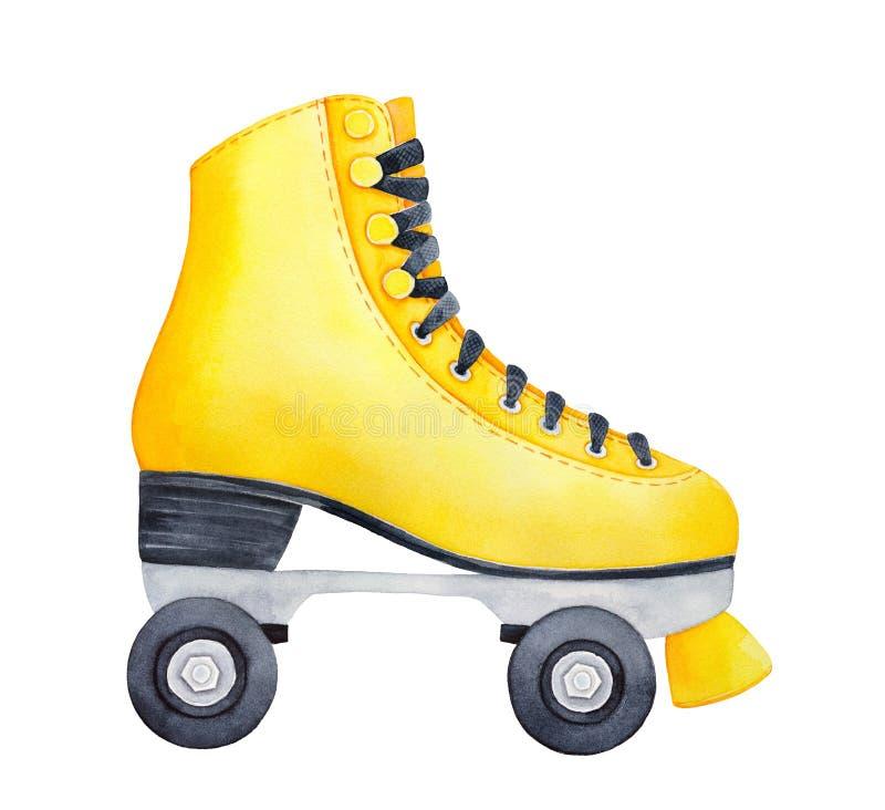 Vista lateral do patim de rolo amarelo brilhante bonito com rodas e laços pretos ilustração royalty free