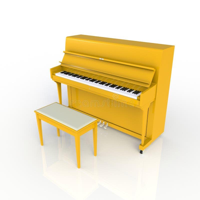 Vista lateral do piano amarelo clássico do instrumento musical isolado no fundo branco, instrumento do teclado ilustração do vetor