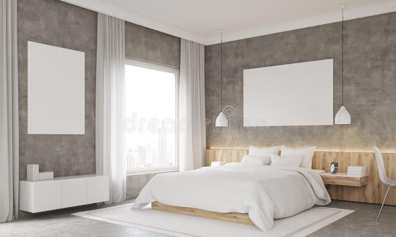 Vista lateral do quarto com canto do estudo ilustração royalty free