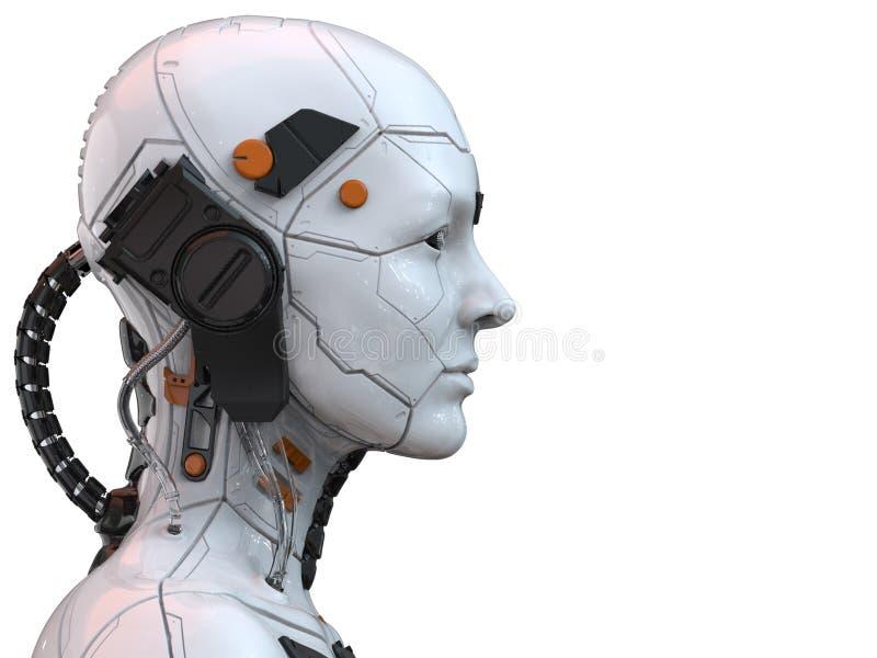 Vista lateral humanoid de la mujer del cyborg del robot de Android - representación 3d stock de ilustración