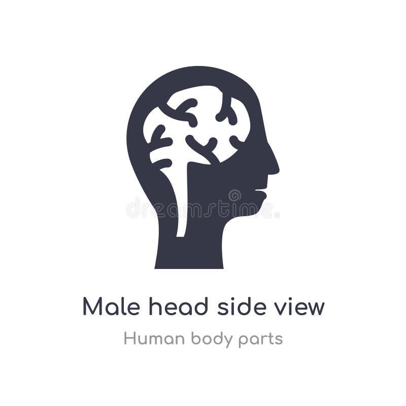 vista lateral principal masculina com ícone do esboço dos cérebros linha isolada ilustra??o do vetor da cole??o humana das partes ilustração do vetor