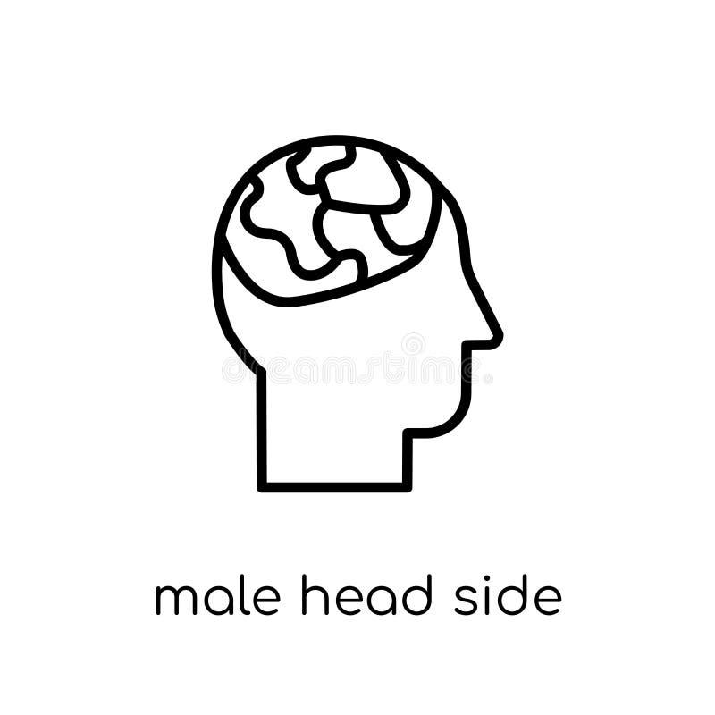 Vista lateral principal masculina con el icono de los cerebros Plano moderno de moda linear stock de ilustración