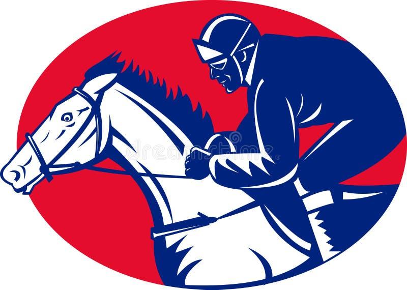 Vista lateral que compite con del caballo y del jinete ilustración del vector